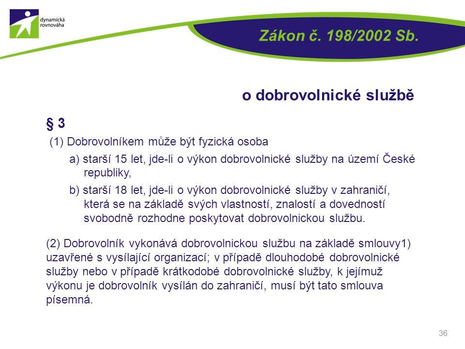 36 § 3 (1) Dobrovolníkem může být fyzická osoba a) starší 15 let, jde-li o výkon dobrovolnické služby na území České republiky, b) starší 18 let, jde-