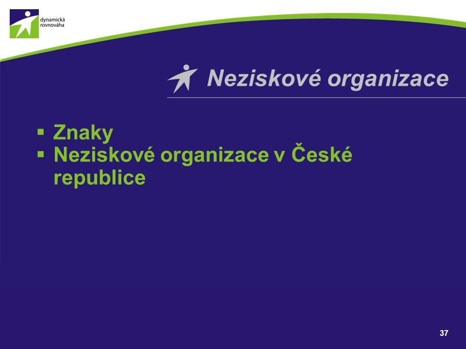  Znaky  Neziskové organizace v České republice Neziskové organizace 37