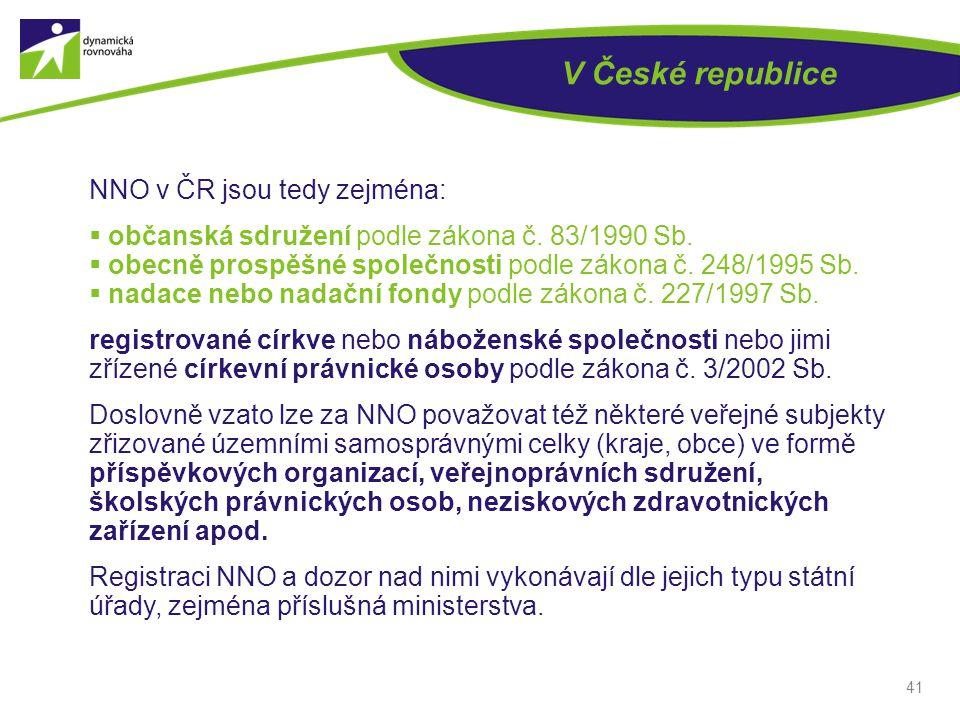 41 V České republice NNO v ČR jsou tedy zejména:  občanská sdružení podle zákona č. 83/1990 Sb.  obecně prospěšné společnosti podle zákona č. 248/19