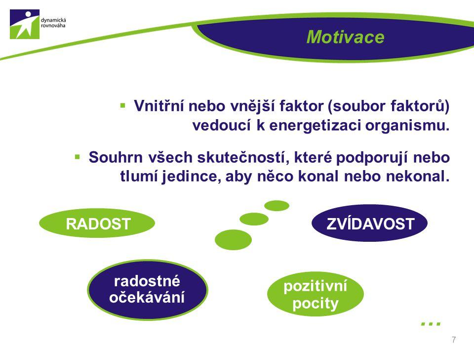 7 Motivace  Vnitřní nebo vnější faktor (soubor faktorů) vedoucí k energetizaci organismu.  Souhrn všech skutečností, které podporují nebo tlumí jedi