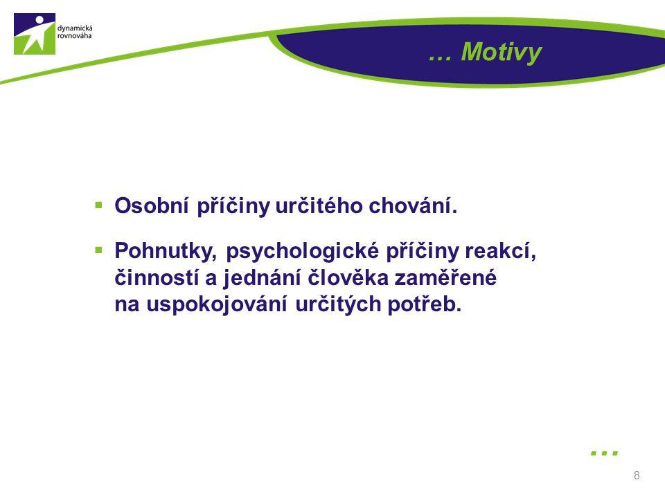 8 … Motivy …  Osobní příčiny určitého chování.  Pohnutky, psychologické příčiny reakcí, činností a jednání člověka zaměřené na uspokojování určitých