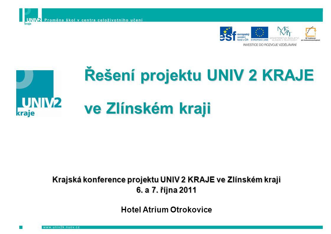 Řešení projektu UNIV 2 KRAJE Řešení projektu UNIV 2 KRAJE ve Zlínském kraji ve Zlínském kraji Krajská konference projektu UNIV 2 KRAJE ve Zlínském kraji 6.