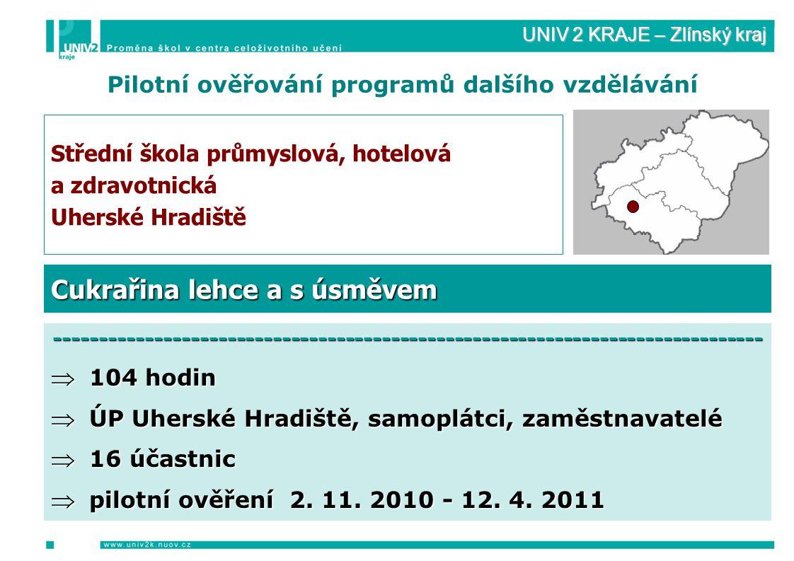 UNIV 2 KRAJE – Zlínský kraj Pilotní ověřování programů dalšího vzdělávání Střední škola průmyslová, hotelová a zdravotnická Uherské Hradiště ------------------------------------------------------------------------------  104 hodin  ÚP Uherské Hradiště, samoplátci, zaměstnavatelé  16 účastnic  pilotní ověření 2.