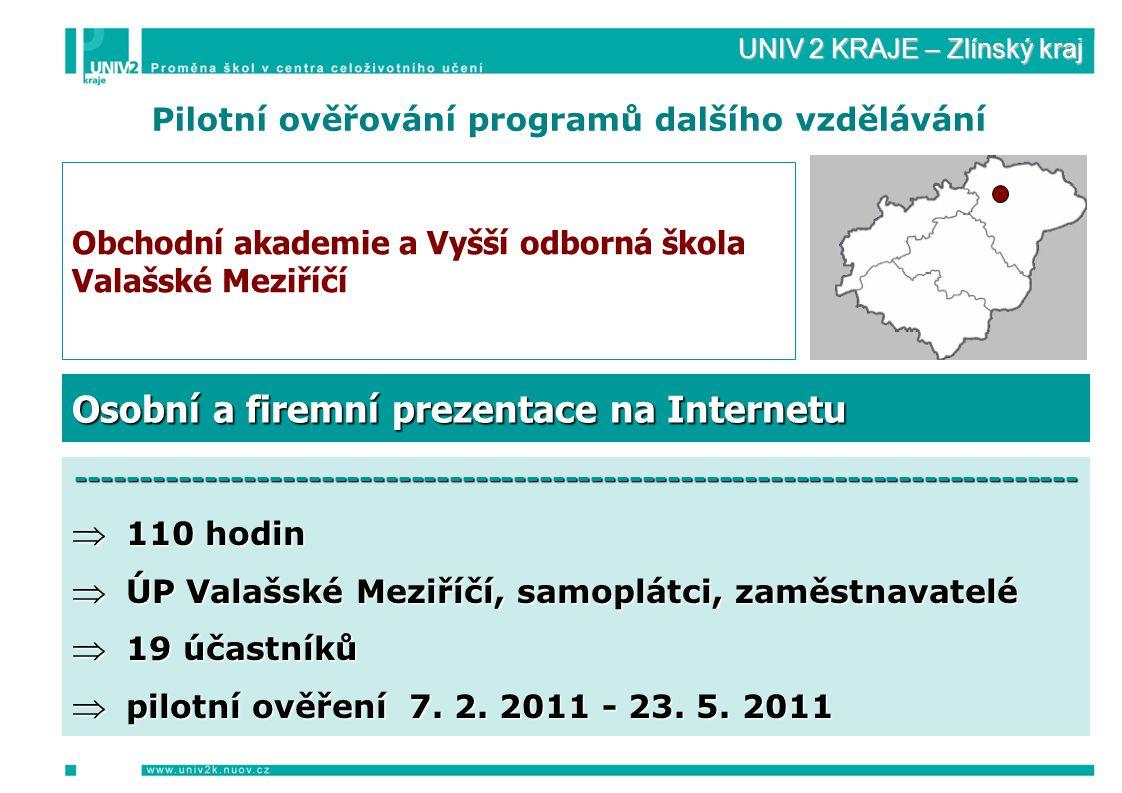 UNIV 2 KRAJE – Zlínský kraj Pilotní ověřování programů dalšího vzdělávání Obchodní akademie a Vyšší odborná škola Valašské Meziříčí ------------------------------------------------------------------------------  110 hodin  ÚP Valašské Meziříčí, samoplátci, zaměstnavatelé  19 účastníků  pilotní ověření 7.