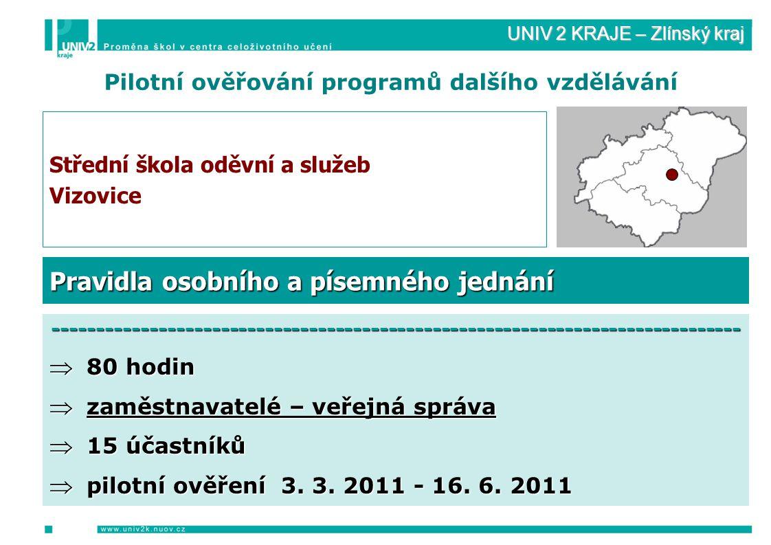 UNIV 2 KRAJE – Zlínský kraj Pilotní ověřování programů dalšího vzdělávání Střední škola oděvní a služeb Vizovice ------------------------------------------------------------------------------  80 hodin  zaměstnavatelé – veřejná správa  15 účastníků  pilotní ověření 3.