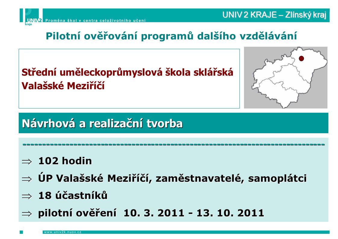 UNIV 2 KRAJE – Zlínský kraj Pilotní ověřování programů dalšího vzdělávání Střední uměleckoprůmyslová škola sklářská Valašské Meziříčí ------------------------------------------------------------------------------  102 hodin  ÚP Valašské Meziříčí, zaměstnavatelé, samoplátci  18 účastníků  pilotní ověření 10.