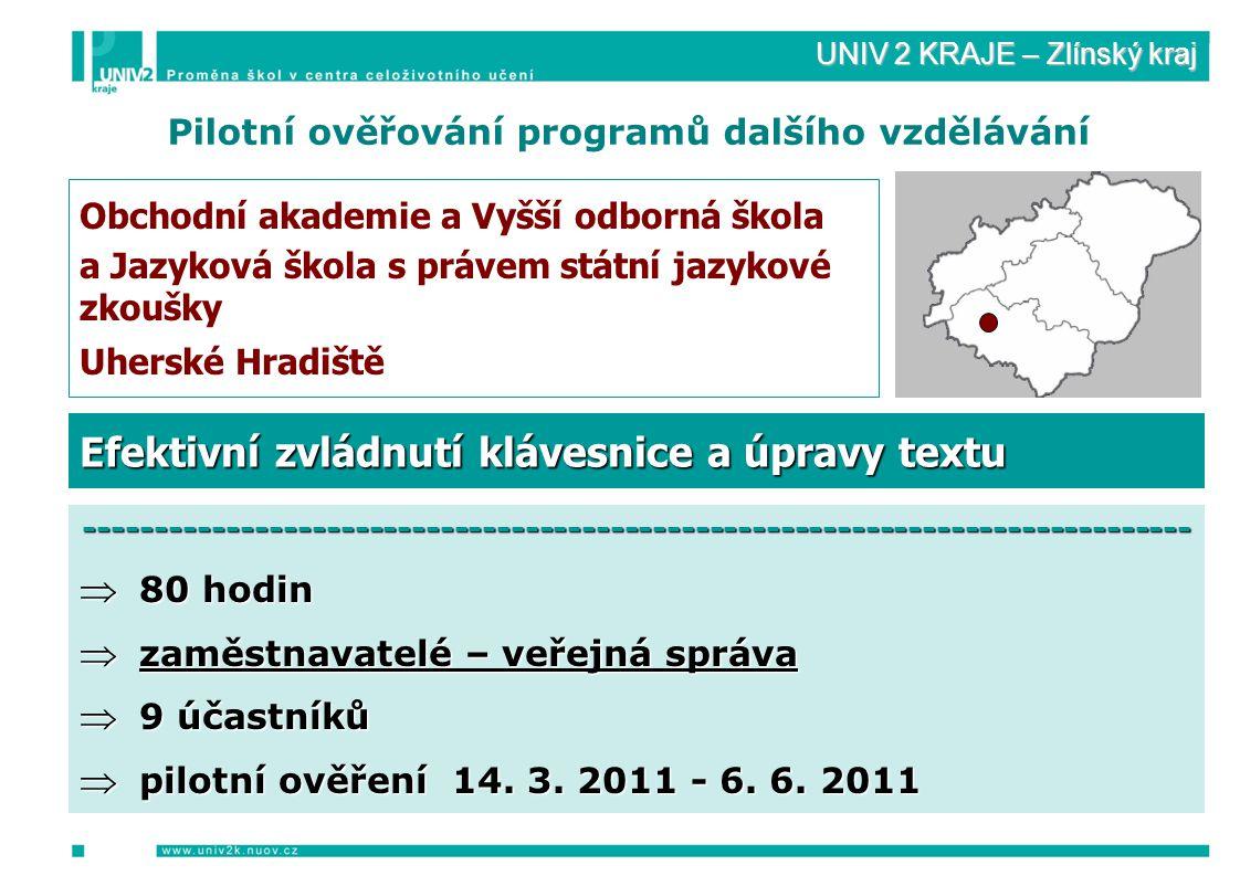 UNIV 2 KRAJE – Zlínský kraj Pilotní ověřování programů dalšího vzdělávání Obchodní akademie a Vyšší odborná škola a Jazyková škola s právem státní jazykové zkoušky Uherské Hradiště ------------------------------------------------------------------------------  80 hodin  zaměstnavatelé – veřejná správa  9 účastníků  pilotní ověření 14.