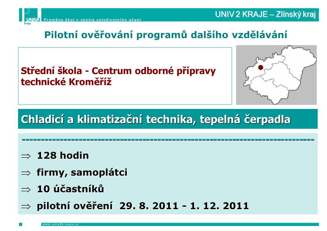 UNIV 2 KRAJE – Zlínský kraj Pilotní ověřování programů dalšího vzdělávání Střední škola - Centrum odborné přípravy technické Kroměříž ------------------------------------------------------------------------------  128 hodin  firmy, samoplátci  10 účastníků  pilotní ověření 29.