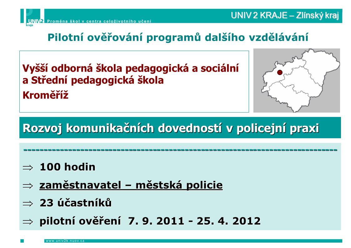 UNIV 2 KRAJE – Zlínský kraj Pilotní ověřování programů dalšího vzdělávání Vyšší odborná škola pedagogická a sociální a Střední pedagogická škola Kroměříž ------------------------------------------------------------------------------  100 hodin  zaměstnavatel – městská policie  23 účastníků  pilotní ověření 7.