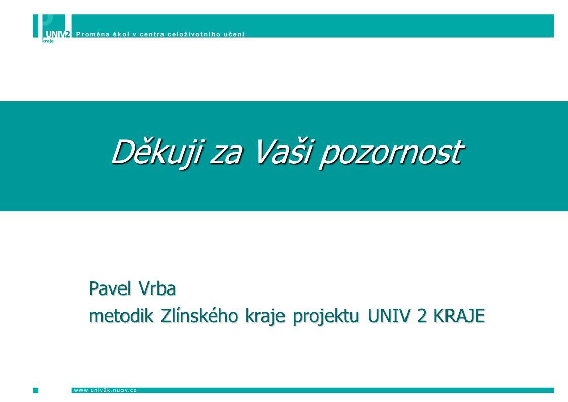 Děkuji za Vaši pozornost Pavel Vrba metodik Zlínského kraje projektu UNIV 2 KRAJE metodik Zlínského kraje projektu UNIV 2 KRAJE