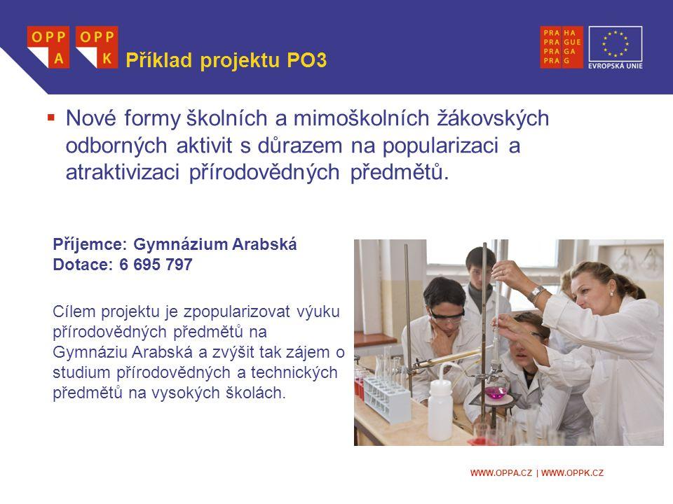 WWW.OPPA.CZ | WWW.OPPK.CZ Příklad projektu PO3  Nové formy školních a mimoškolních žákovských odborných aktivit s důrazem na popularizaci a atraktivizaci přírodovědných předmětů.