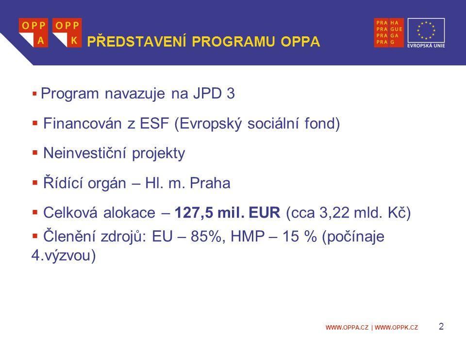 WWW.OPPA.CZ | WWW.OPPK.CZ 2 PŘEDSTAVENÍ PROGRAMU OPPA  Program navazuje na JPD 3  Financován z ESF (Evropský sociální fond)  Neinvestiční projekty  Řídící orgán – Hl.