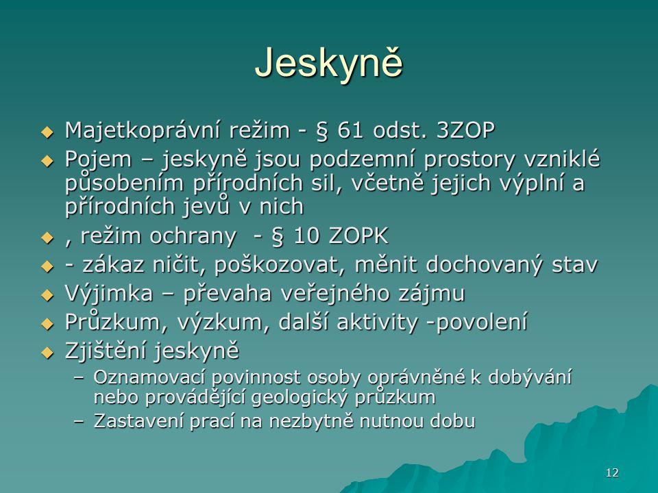 12 Jeskyně  Majetkoprávní režim - § 61 odst.