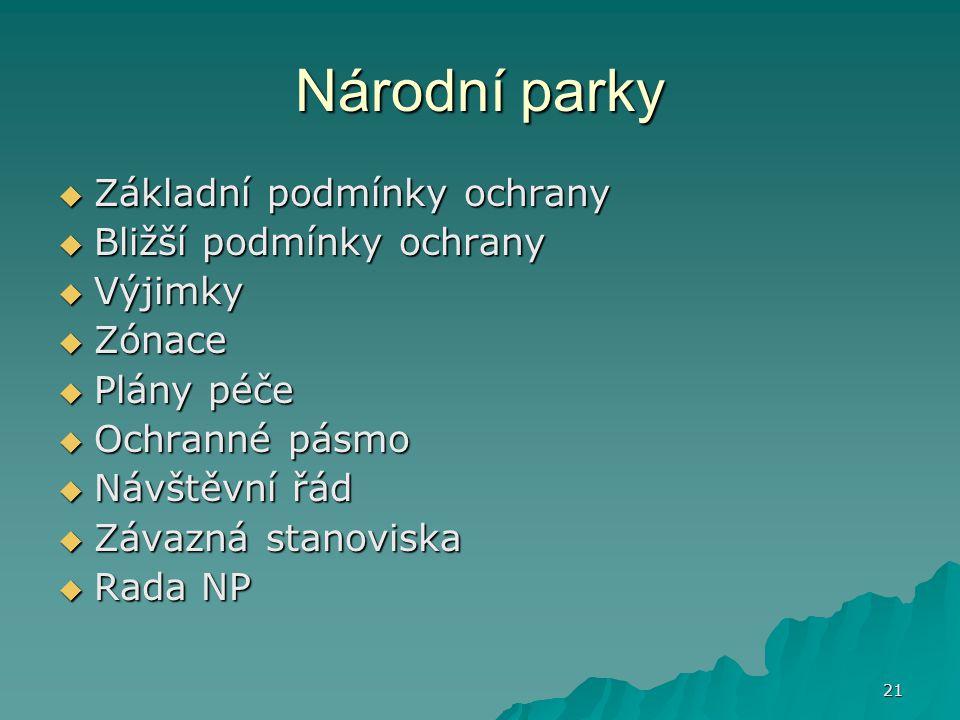 21 Národní parky  Základní podmínky ochrany  Bližší podmínky ochrany  Výjimky  Zónace  Plány péče  Ochranné pásmo  Návštěvní řád  Závazná stanoviska  Rada NP