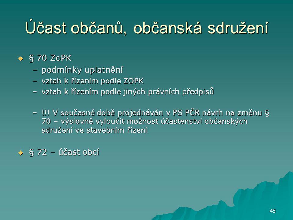 45 Účast občanů, občanská sdružení  § 70 ZoPK –podmínky uplatnění –vztah k řízením podle ZOPK –vztah k řízením podle jiných právních předpisů –!!.