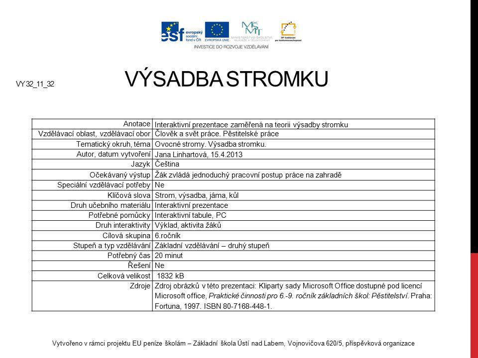 VY 32_11_32 VÝSADBA STROMKU Vytvořeno v rámci projektu EU peníze školám – Základní škola Ústí nad Labem, Vojnovičova 620/5, příspěvková organizace Ano