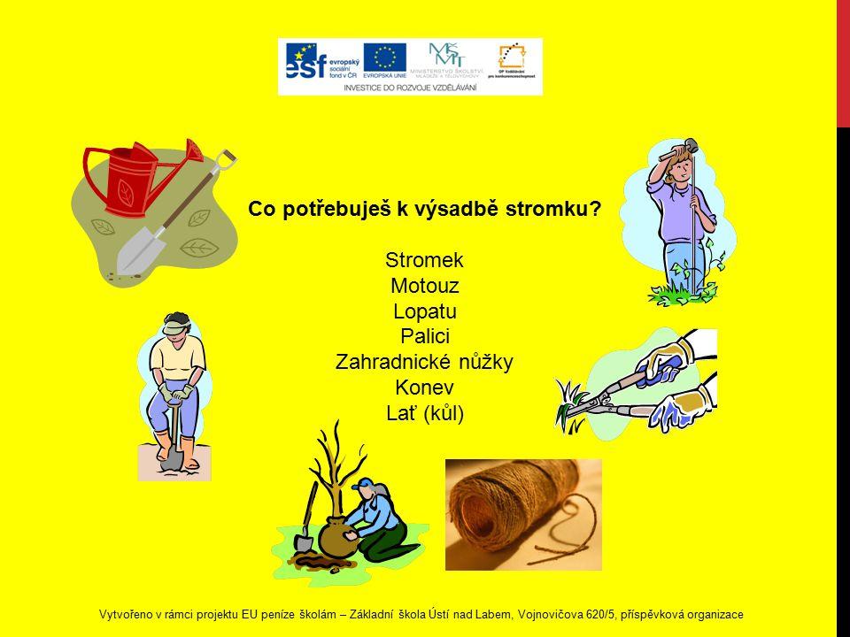 Vytvořeno v rámci projektu EU peníze školám – Základní škola Ústí nad Labem, Vojnovičova 620/5, příspěvková organizace Co potřebuješ k výsadbě stromku