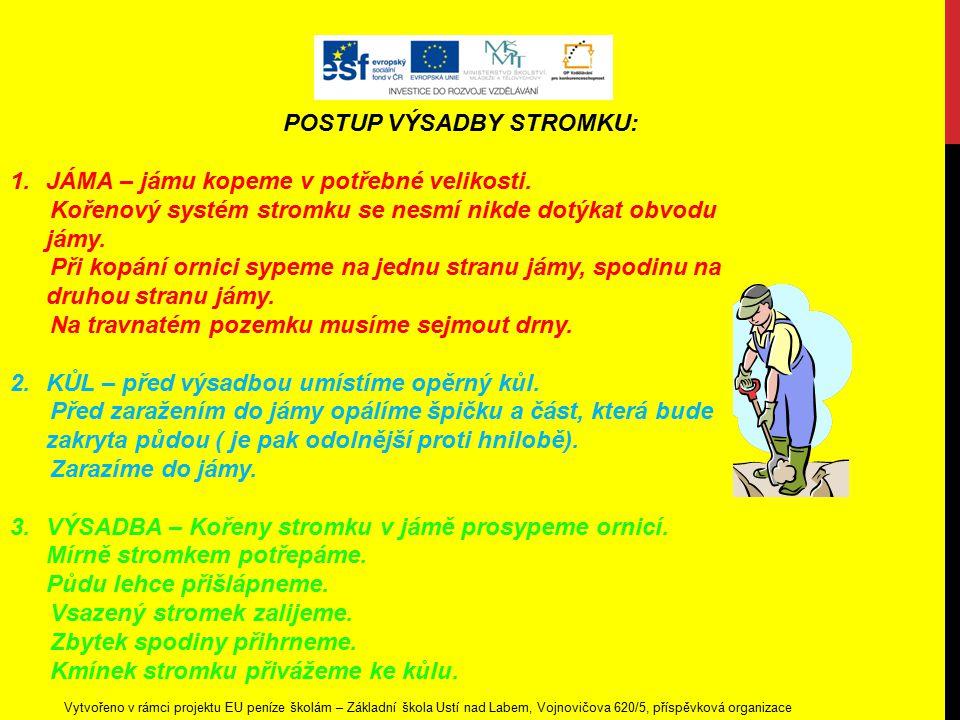 Vytvořeno v rámci projektu EU peníze školám – Základní škola Ústí nad Labem, Vojnovičova 620/5, příspěvková organizace POSTUP VÝSADBY STROMKU: 1.JÁMA