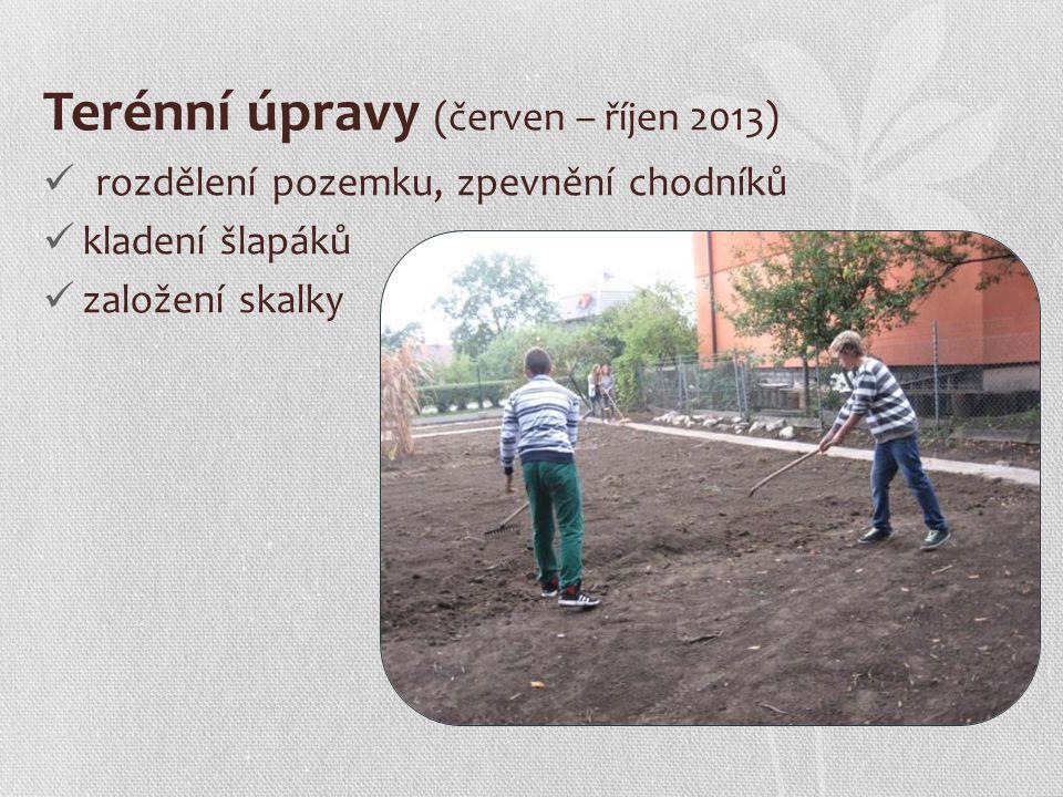 Terénní úpravy (červen – říjen 2013) rozdělení pozemku, zpevnění chodníků kladení šlapáků založení skalky