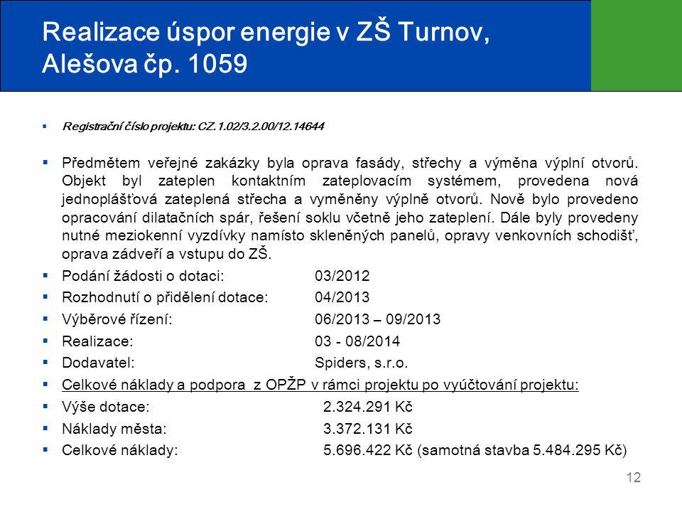 Realizace úspor energie v ZŠ Turnov, Alešova čp. 1059  Registrační číslo projektu: CZ.1.02/3.2.00/12.14644  Předmětem veřejné zakázky byla oprava fa