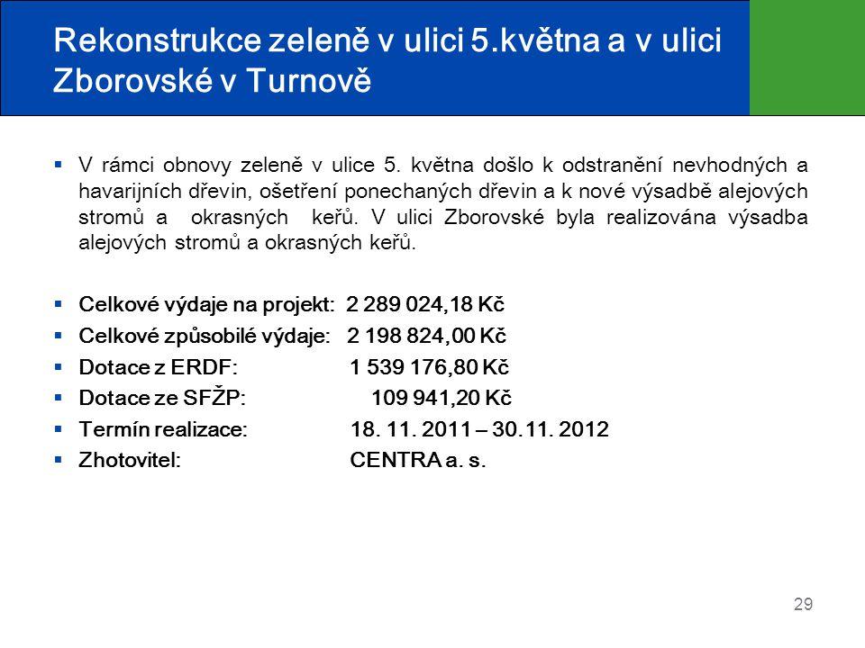 Rekonstrukce zeleně v ulici 5.května a v ulici Zborovské v Turnově  V rámci obnovy zeleně v ulice 5. května došlo k odstranění nevhodných a havarijní