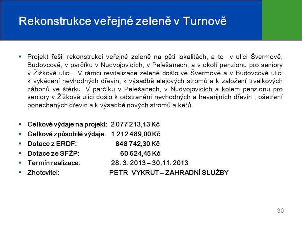 Rekonstrukce veřejné zeleně v Turnově  Projekt řešil rekonstrukci veřejné zeleně na pěti lokalitách, a to v ulici Švermově, Budovcově, v parčíku v Nu
