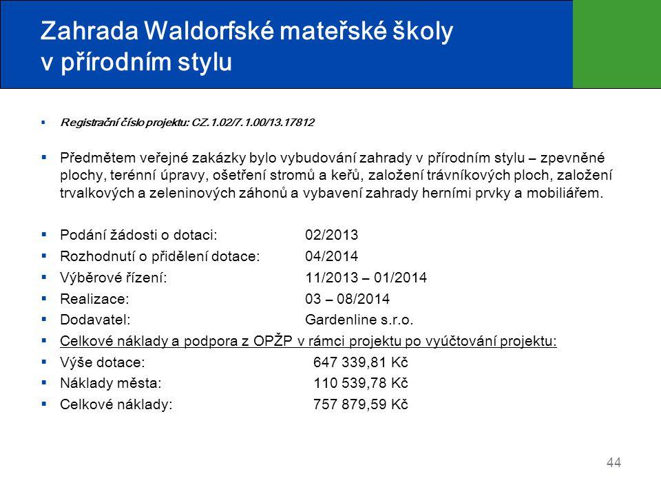 Zahrada Waldorfské mateřské školy v přírodním stylu  Registrační číslo projektu: CZ.1.02/7.1.00/13.17812  Předmětem veřejné zakázky bylo vybudování