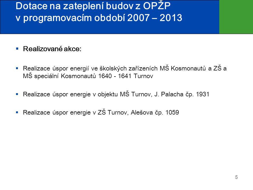 Dotace na zateplení budov z OPŽP v programovacím období 2007 – 2013  Realizované akce:  Realizace úspor energií ve školských zařízeních MŠ Kosmonaut