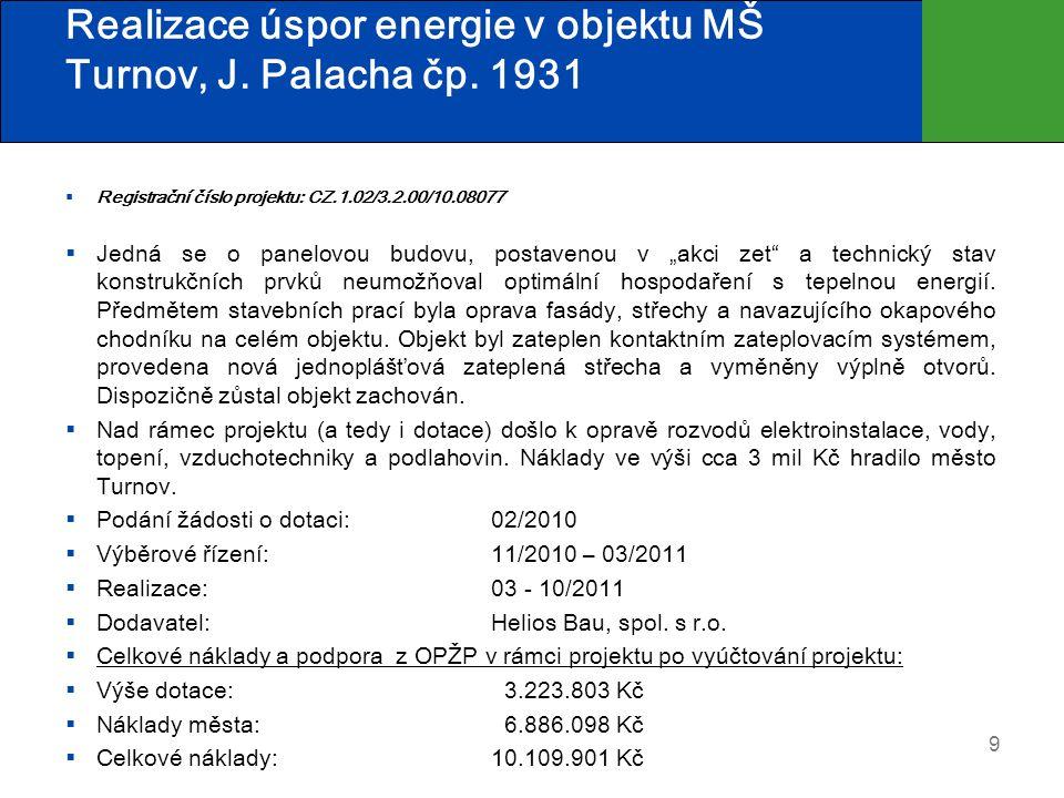Realizace úspor energie v objektu MŠ Turnov, J. Palacha čp. 1931  Registrační číslo projektu: CZ.1.02/3.2.00/10.08077  Jedná se o panelovou budovu,