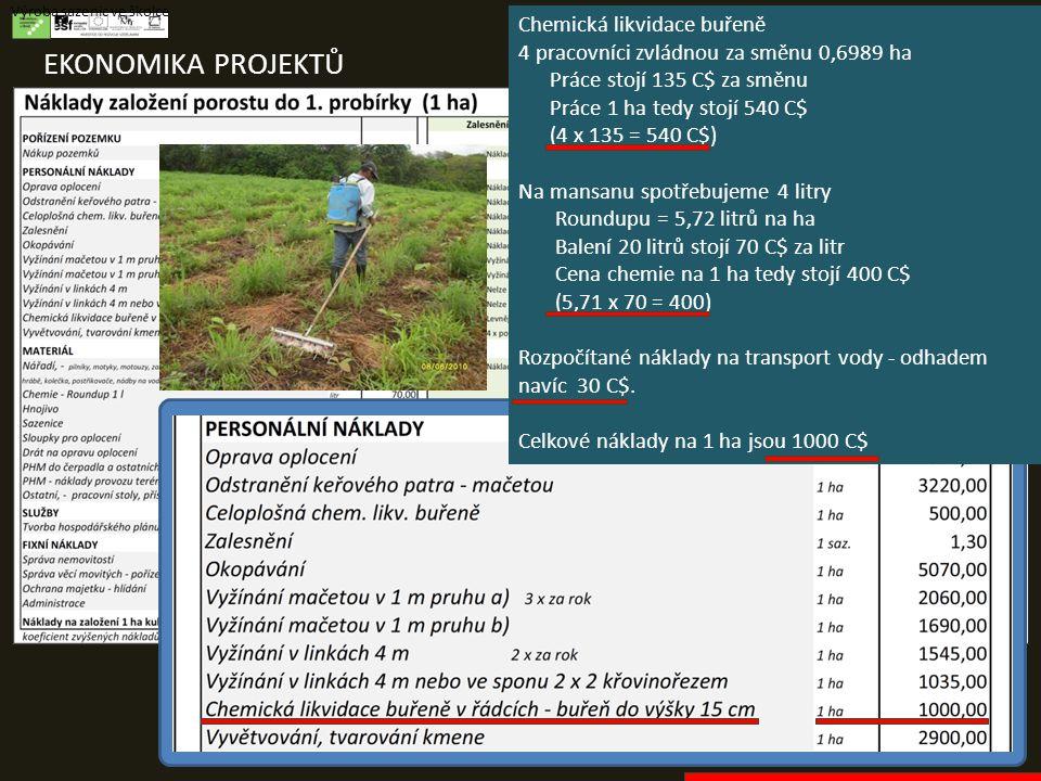 EKONOMIKA PROJEKTŮ Výroba sazenic ve školce Chemická likvidace buřeně 4 pracovníci zvládnou za směnu 0,6989 ha Práce stojí 135 C$ za směnu Práce 1 ha tedy stojí 540 C$ (4 x 135 = 540 C$) Na mansanu spotřebujeme 4 litry Roundupu = 5,72 litrů na ha Balení 20 litrů stojí 70 C$ za litr Cena chemie na 1 ha tedy stojí 400 C$ (5,71 x 70 = 400) Rozpočítané náklady na transport vody - odhadem navíc 30 C$.
