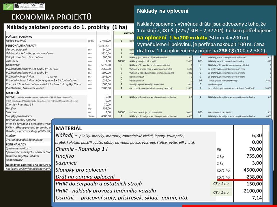 EKONOMIKA PROJEKTŮ Výroba sazenic ve školce Náklady na oplocení Náklady spojené s výměnou drátu jsou odvozeny z toho, že 1 m stojí 2,38 C$ (725 / 304 = 2,37704).