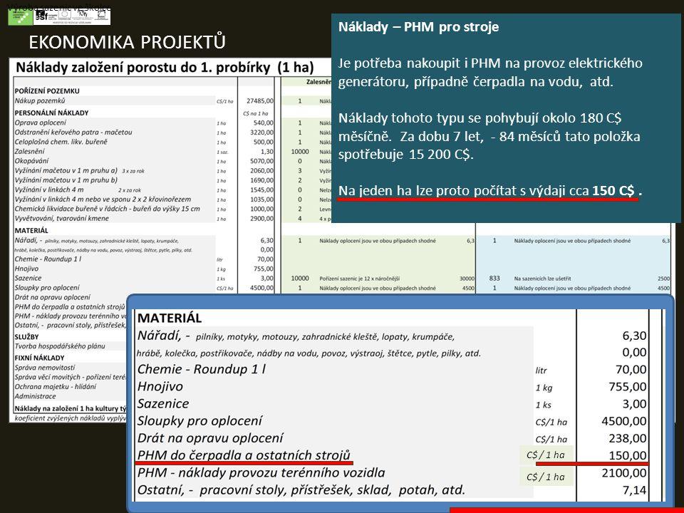 EKONOMIKA PROJEKTŮ Výroba sazenic ve školce Náklady – PHM pro stroje Je potřeba nakoupit i PHM na provoz elektrického generátoru, případně čerpadla na vodu, atd.