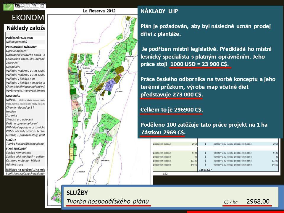 EKONOMIKA PROJEKTŮ Výroba sazenic ve školce SLUŽBY Tvorba hospodářského plánu C$ / ha 2968,00 NÁKLADY LHP Plán je požadován, aby byl následně uznán prodej dříví z plantáže.