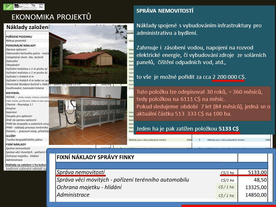 EKONOMIKA PROJEKTŮ Výroba sazenic ve školce SPRÁVA NEMOVITOSTÍ Náklady spojené s vybudováním infrastruktury pro administrativu a bydlení.