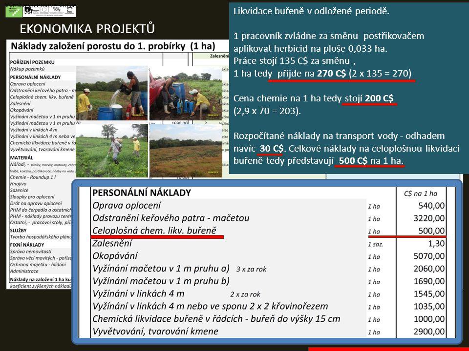 EKONOMIKA PROJEKTŮ Výroba sazenic ve školce Likvidace buřeně v odložené periodě. 1 pracovník zvládne za směnu postřikovačem aplikovat herbicid na ploš