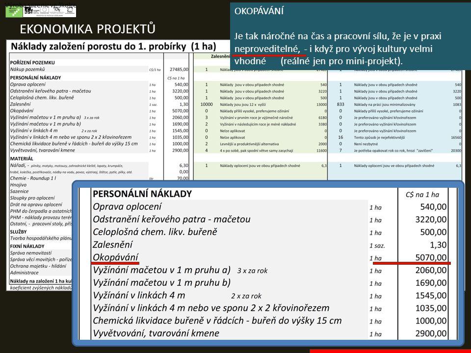 EKONOMIKA PROJEKTŮ Výroba sazenic ve školce OKOPÁVÁNÍ Je tak náročné na čas a pracovní sílu, že je v praxi neproveditelné, - i když pro vývoj kultury velmi vhodné (reálné jen pro mini-projekt).