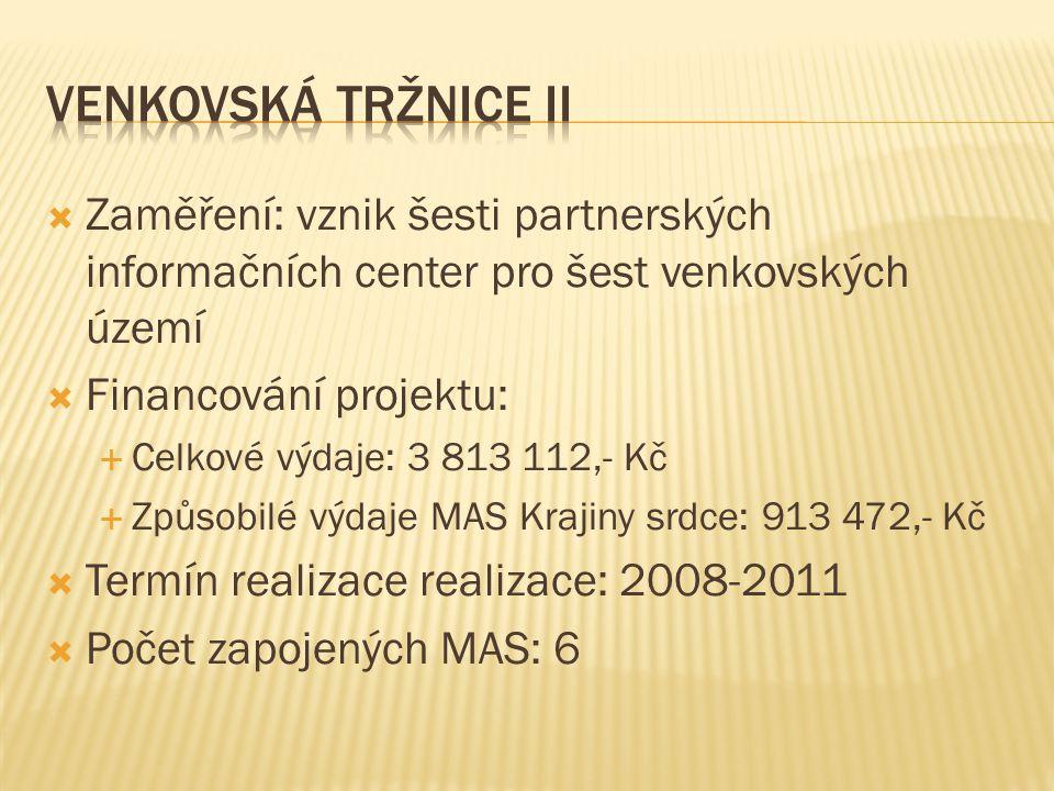  Zaměření: vznik šesti partnerských informačních center pro šest venkovských území  Financování projektu:  Celkové výdaje: 3 813 112,- Kč  Způsobilé výdaje MAS Krajiny srdce: 913 472,- Kč  Termín realizace realizace: 2008-2011  Počet zapojených MAS: 6