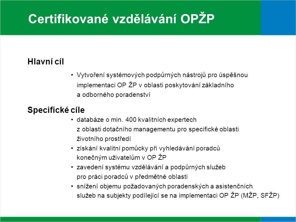 Certifikované vzdělávání OPŽP Hlavní cíl Vytvoření systémových podpůrných nástrojů pro úspěšnou implementaci OP ŽP v oblasti poskytování základního a odborného poradenství Specifické cíle databáze o min.