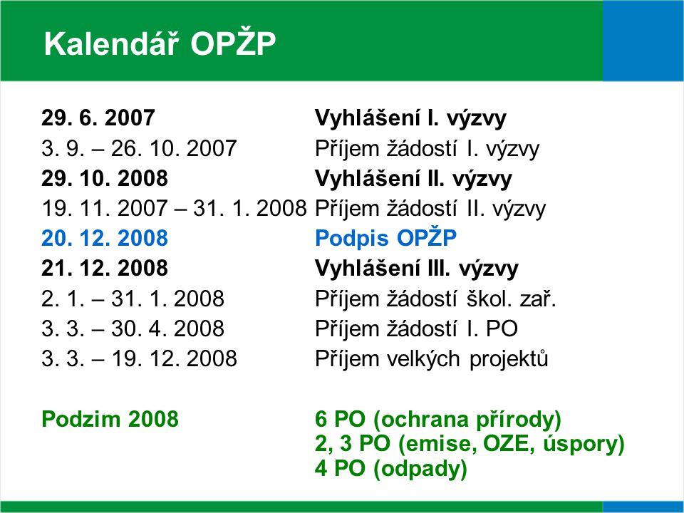 29. 6. 2007 Vyhlášení I. výzvy 3. 9. – 26. 10.