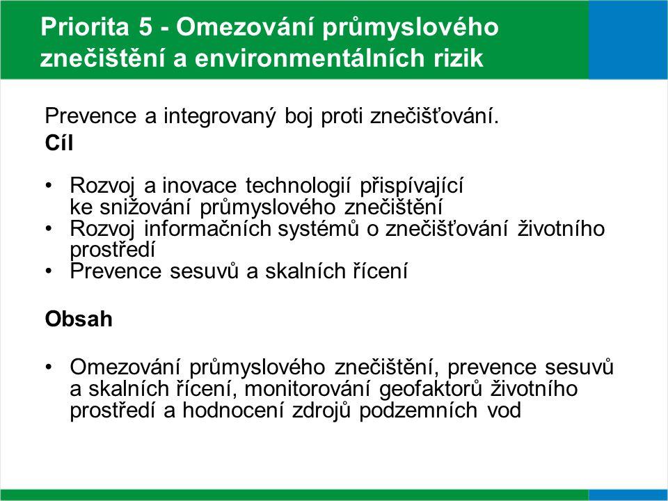 Priorita 5 - Omezování průmyslového znečištění a environmentálních rizik Prevence a integrovaný boj proti znečišťování.