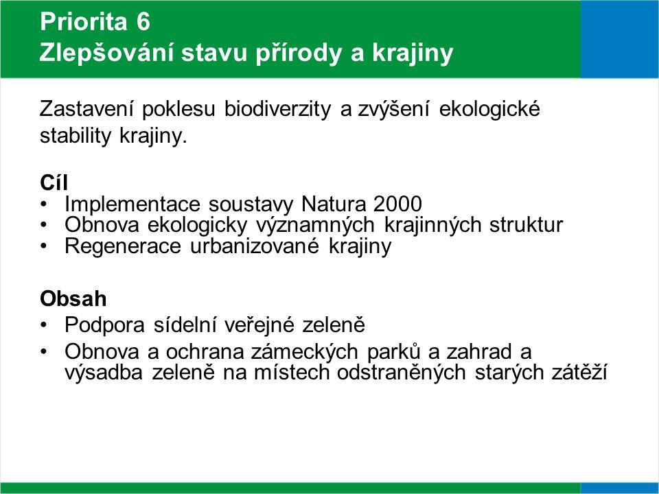 Priorita 6 Zlepšování stavu přírody a krajiny Zastavení poklesu biodiverzity a zvýšení ekologické stability krajiny.