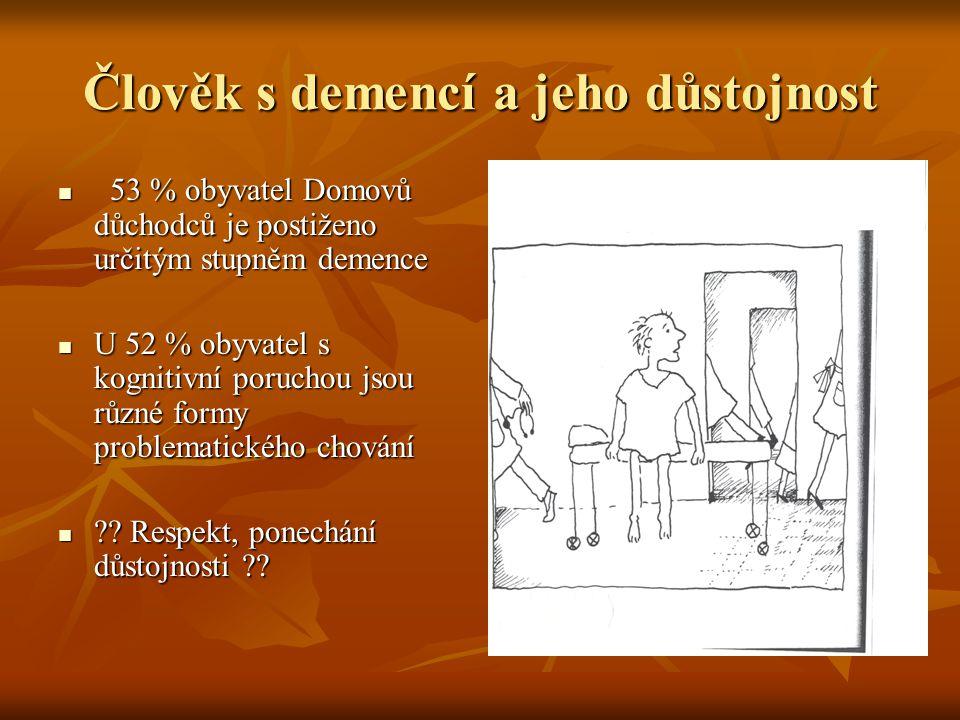 Člověk s demencí a jeho důstojnost 53 % obyvatel Domovů důchodců je postiženo určitým stupněm demence 53 % obyvatel Domovů důchodců je postiženo určitým stupněm demence U 52 % obyvatel s kognitivní poruchou jsou různé formy problematického chování U 52 % obyvatel s kognitivní poruchou jsou různé formy problematického chování ?.