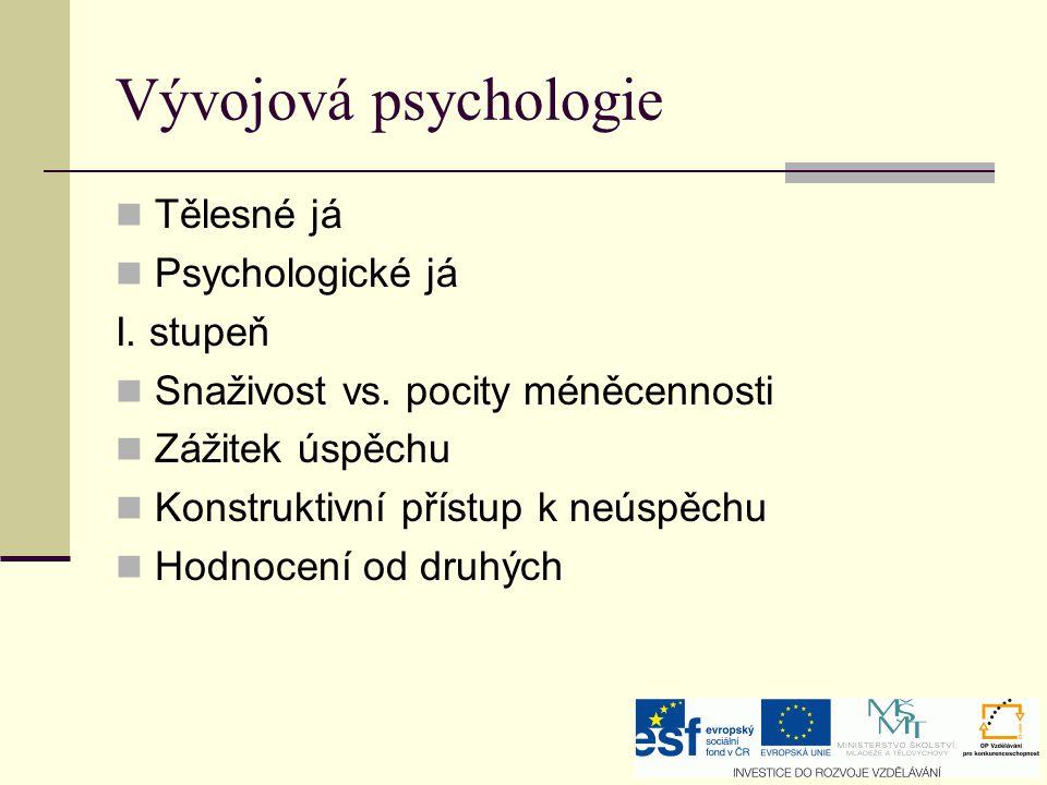 Vývojová psychologie Tělesné já Psychologické já I. stupeň Snaživost vs. pocity méněcennosti Zážitek úspěchu Konstruktivní přístup k neúspěchu Hodnoce