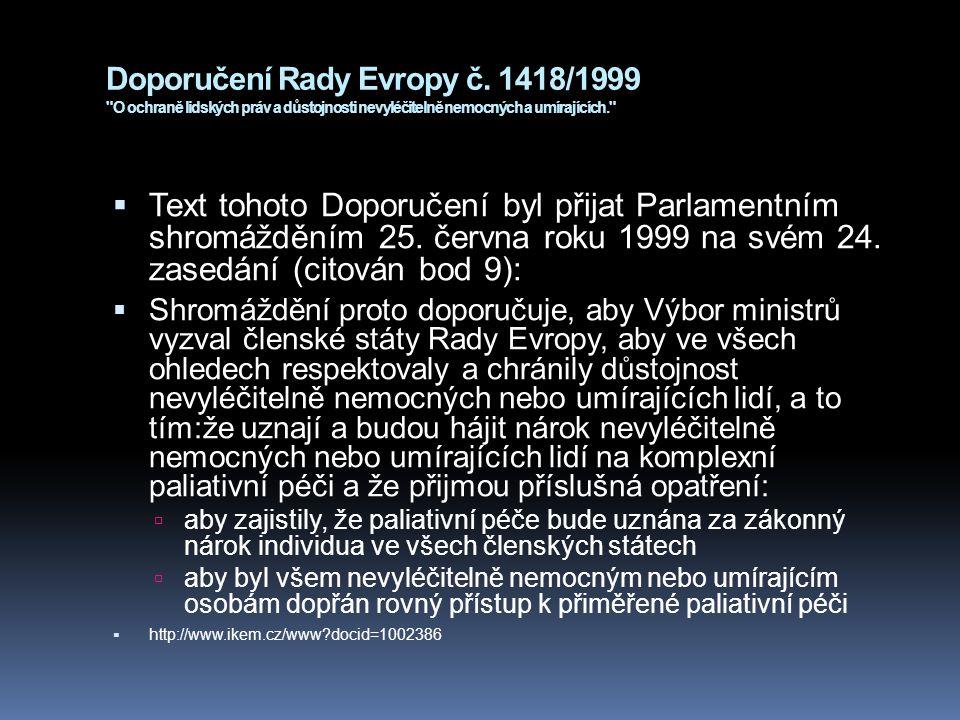 Doporučení Rady Evropy č. 1418/1999