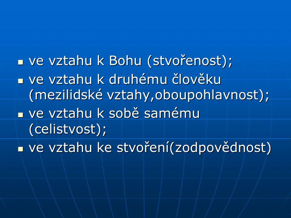 ve vztahu k Bohu (stvořenost); ve vztahu k Bohu (stvořenost); ve vztahu k druhému člověku (mezilidské vztahy,oboupohlavnost); ve vztahu k druhému člov