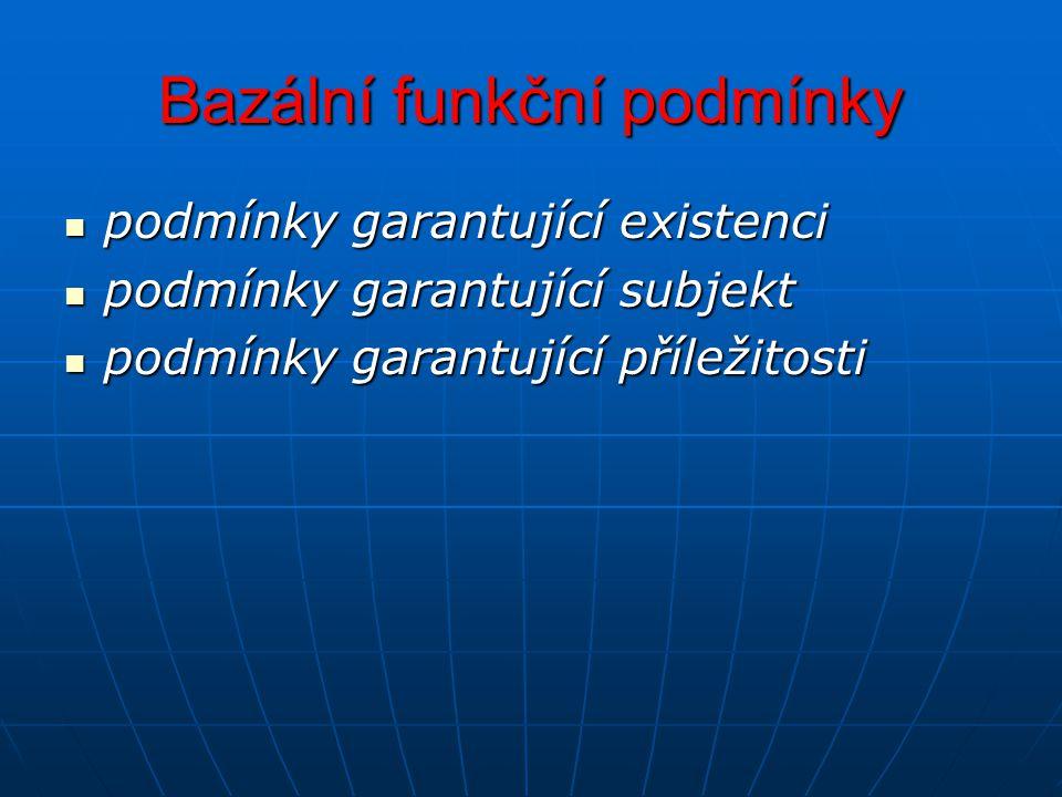 Bazální funkční podmínky podmínky garantující existenci podmínky garantující existenci podmínky garantující subjekt podmínky garantující subjekt podmí