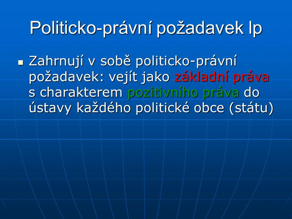 Politicko-právní požadavek lp Zahrnují v sobě politicko-právní požadavek: vejít jako základní práva s charakterem pozitivního práva do ústavy každého