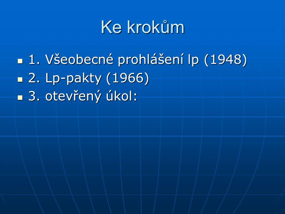 Ke krokům 1. Všeobecné prohlášení lp (1948) 1. Všeobecné prohlášení lp (1948) 2. Lp-pakty (1966) 2. Lp-pakty (1966) 3. otevřený úkol: 3. otevřený úkol