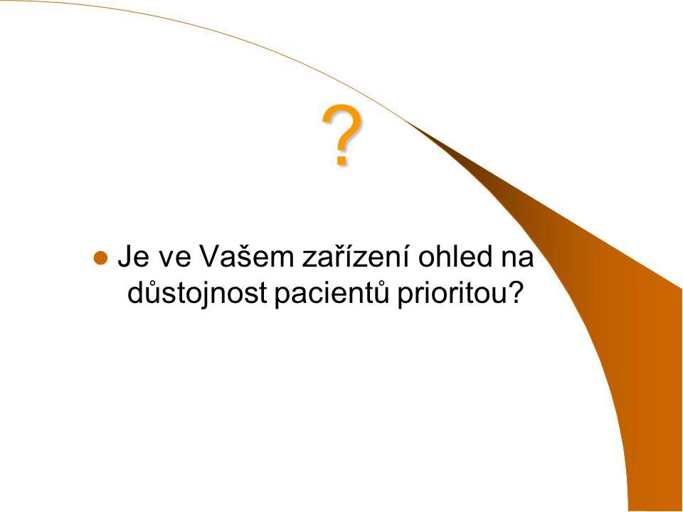 Je ve Vašem zařízení ohled na důstojnost pacientů prioritou? ?