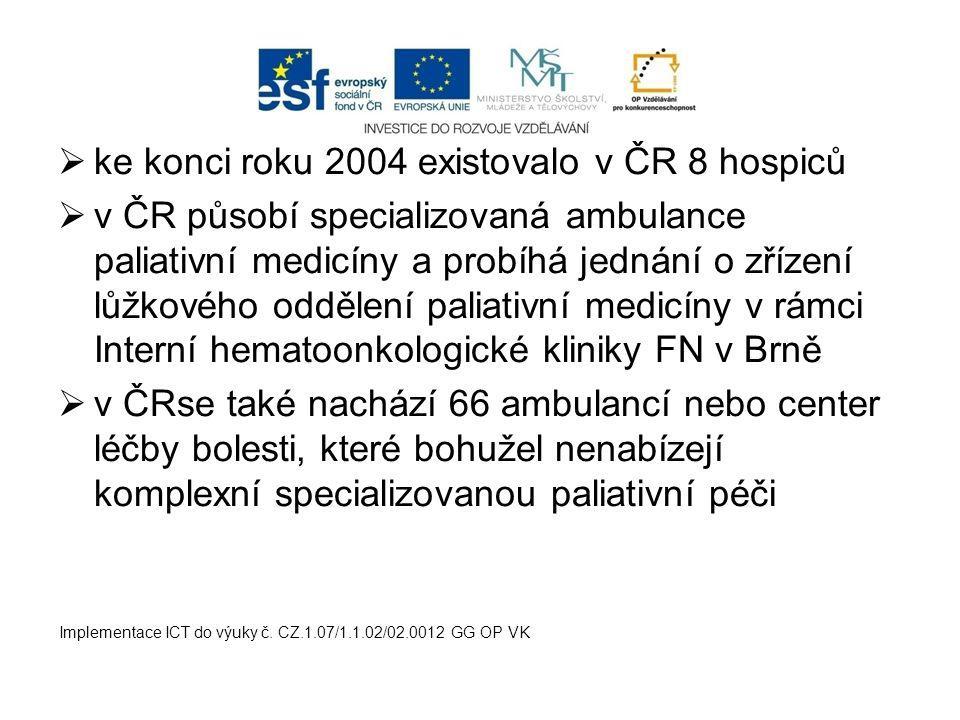  ke konci roku 2004 existovalo v ČR 8 hospiců  v ČR působí specializovaná ambulance paliativní medicíny a probíhá jednání o zřízení lůžkového odděle